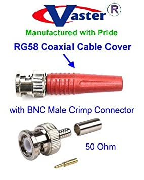 BNC Crimp Conector Macho con Conector BNC Tapa de plástico (Rojo Color), para