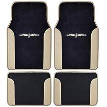 BDK MT-201-BG A Set of 4 Universal Fit Plush Carpet with Vinyl Trim Floor Mats for Cars Truck SUV, Beige