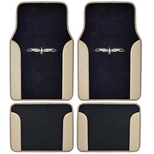 (BDK MT-201-BG A Set of 4 Universal Fit Plush Carpet with Vinyl Trim Floor Mats For Cars / Trucks - Tribal Tan)