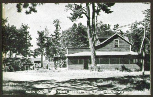 Main Lodge Pines Resort Deep River MN postcard 1930s
