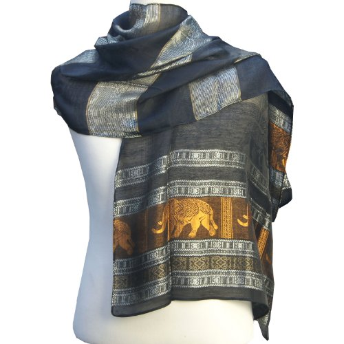Thaimart Elephant Beautiful Scarf Shawl Pashmina Wrap Throw - Over 2000 Beautiful Colours Nice & Soft As Ming FUR to Choose From (Approx. 27 X Approx. 81) By Thaimart Handicraft by Thaimart Scarf