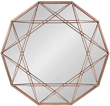 Kate and Laurel Keyleigh Modern Glam Geometric Shaped Metal Accent Wall Mirror