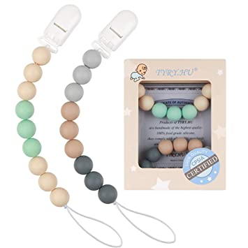 Pacifier Clips 2 Pack Pacifier Holder Baby Boys Silicone Paci Clip Teething Relief Teether Toy Soothie Binky Holder BPA Free Chewbeads Birthday Christmas Shower Gift