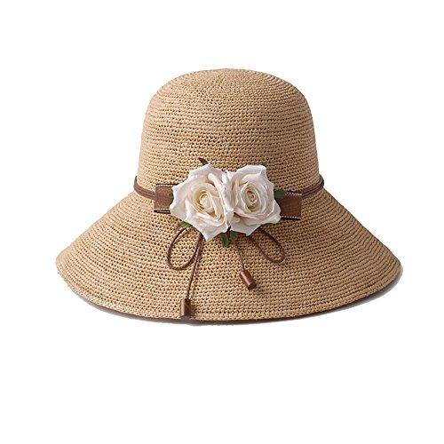 Protector Plegable Sombrero 2 Paja 4 Parasol Cubierta Playa Femenina De Verano Lha Solar color Cvx18x