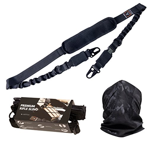 Gun Rifle Air Slip (Antila 2 Point Rifle Sling, Strong and Durable for Your Favorite Gun, Adjustable High Impact Strap with Shoulder Pad and Strong Large Metal Clips + Bandana + Gift Box + 2 Skill Improvement eBooks)