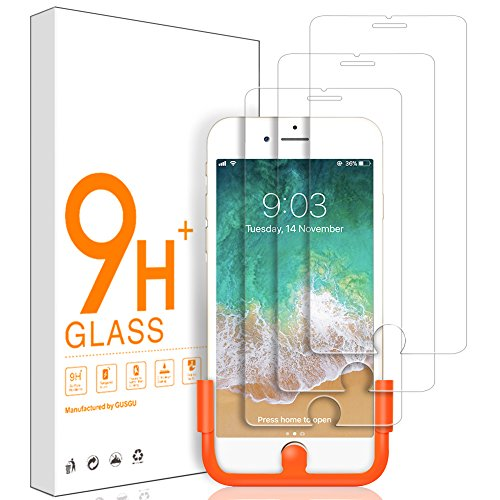 GUSGU [3 Pack] Screen Protector Compatible for iPhone 8 Plus /6S Plus/6 Plus(5.5 inch) 9H Hardness HD Tempered Glass Screen(Comes with an Application Tool, 3 Cleaning Wipes)