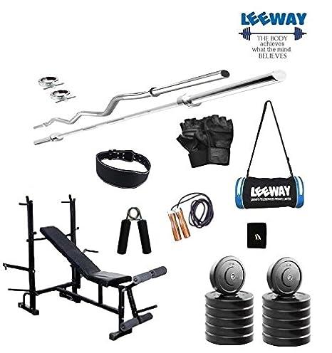 79421230880f LEEWAY Premium Quality  Home Gym Set with 3 Feet Curl Rod