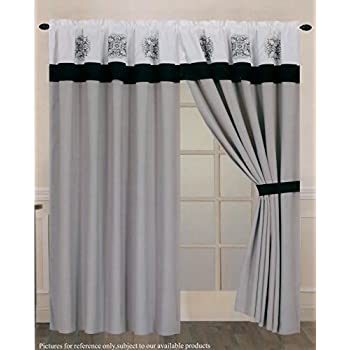 Amazon Com Luxury Curtain Set 4 Piece Taupe White Gray