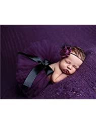 Cute Newborn Toddler Baby Girl Tutu Skirt & Headband Photo Prop Costume Outfit (Purple)