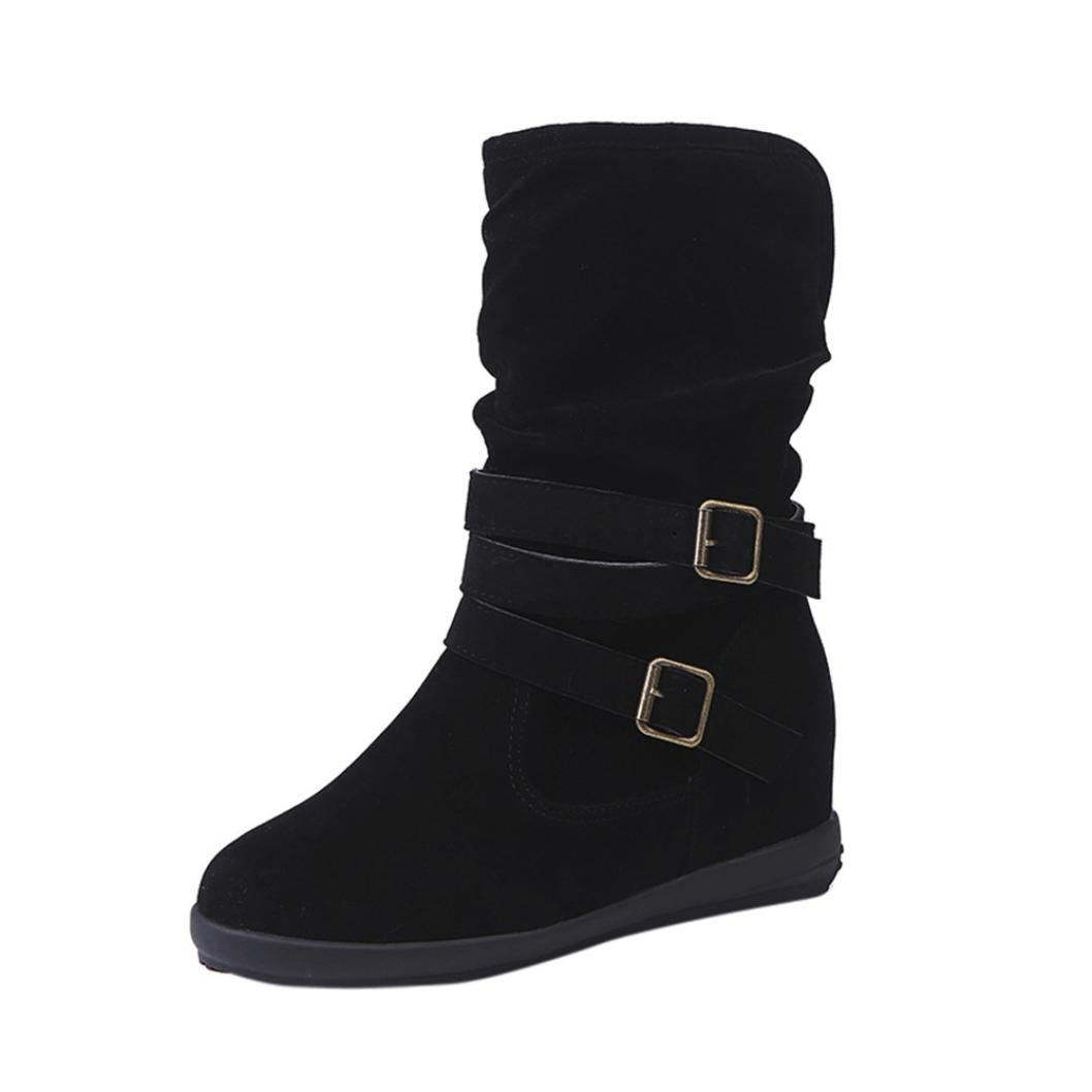 Elevin(TM) 2018Women Winter Warm Fashion Low Wedge Buckle Biker Ankle Trim Flat Ankle Boots Shoes (7US, Black)