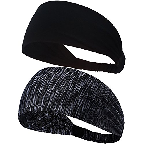 Calbeing Set of 2 Black Headband for Women Workout Sweatband Headscarf Head wrap Hairband Stretchy Soft Hair Head Band Set Sports Fitness Exercise Tennis Running Gym Yoga Dance