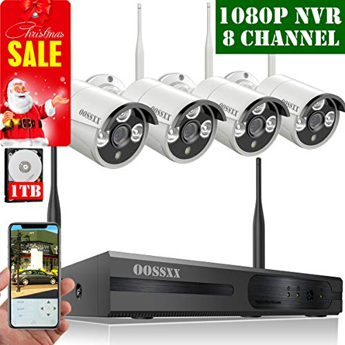 【2019 Update】 HD 1080P 8-Channel OOSSXX Wireless Security Camera System,4Pcs 720P(1.0 Megapixel) Wireless Indoor/Outdoor IR Bullet IP Cameras,P2P,App, HDMI Cord & 1TB HDD Pre-Install (Installation Manual Kit)