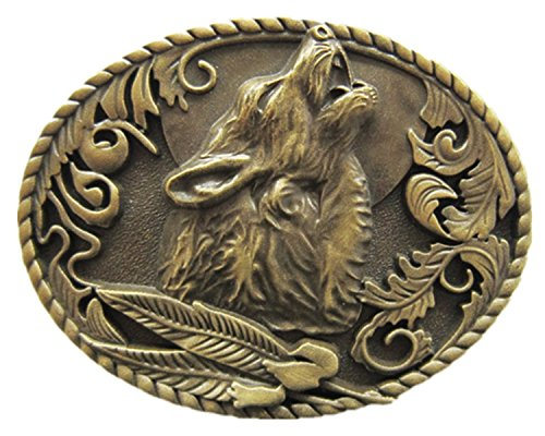 New Classic Vintage Bronze Plated Wolf Wildlife Western Oval Belt Buckle