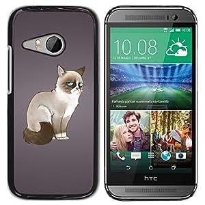 TECHCASE**Cubierta de la caja de protección la piel dura para el ** HTC ONE MINI 2 / M8 MINI ** Siamese Cat Moody Blue Eyes Art Drawing Feline