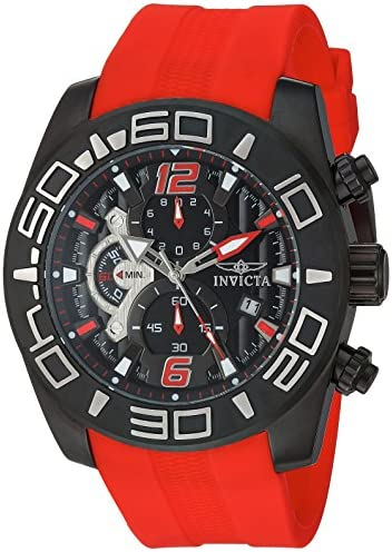 Invicta Men Pro Diver Stainless Steel Quartz Watch with Silicone Strap red 25 Model 22810