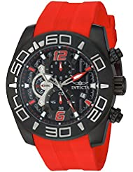 Invicta Mens Pro Diver Quartz Stainless Steel and Silicone Casual Watch, Color:Red (Model: 22810)