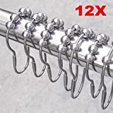 Vakind 12 Pcs Polished Satin Nickel Ball Shower 5 Roller Balls Curtain Rings Hooks
