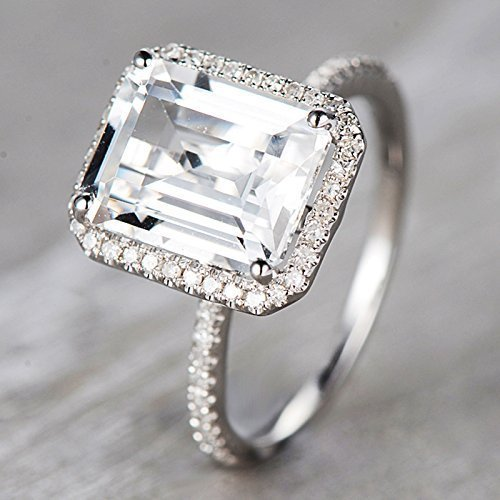 3.95ct Emerald Shape Topaz Engagement Ring 18k White Gold Diamond Halo Ring Diamond Wedding Band Diamond Bridal Ring Set