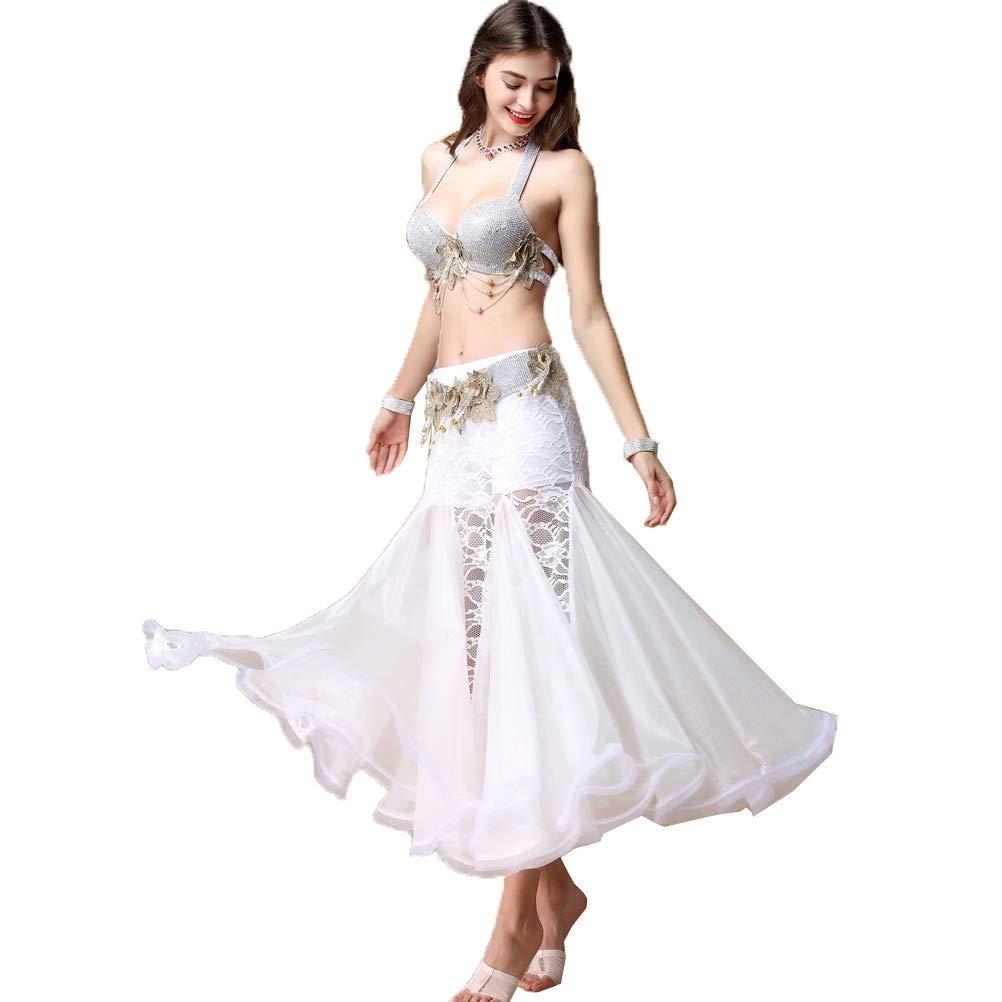 女性のベリーダンスパフォーマンス衣装ブラジャーベルトとスカートベリーダンスドレス絶妙なスーツセットダンス衣装3ピース B07QH6KTW5 XL|シルバー しるば゜ シルバー しるば゜ XL