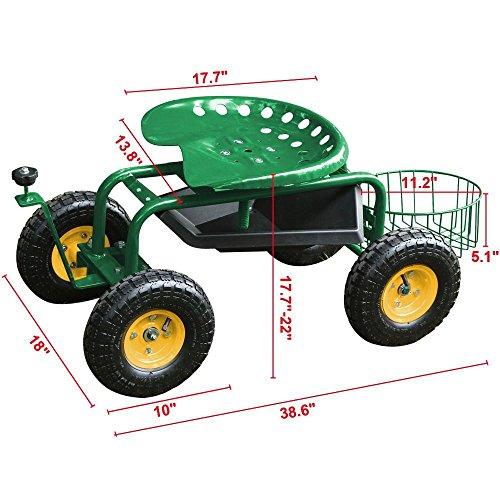 Yaheetech Green Heavy Duty Garden Cart Rolling Work Seat w/Tool Tray Gardening Planting Yard by Yaheetech (Image #1)