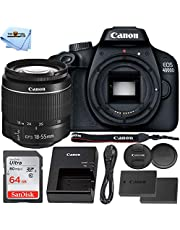 $299 » Canon EOS 4000D DSLR Camera with 18-55mm f/3.5-5.6 III + Extra LP-E10 Rechargeable Battery + Ultra 64GB SD Professional Accessory Bundle