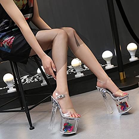 GTVERNH-18cm tacchi a spillo sandali femmina stadio passerella cristallo trasparente tubi di acciaio calzature 35 trasparente