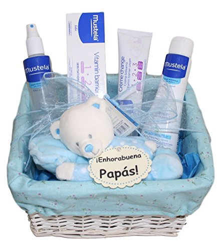 Canasta Para Bebe Recien Nacido.Cesta Bebe Pequena Mustela Azul Canastilla Para Bebe Ideal