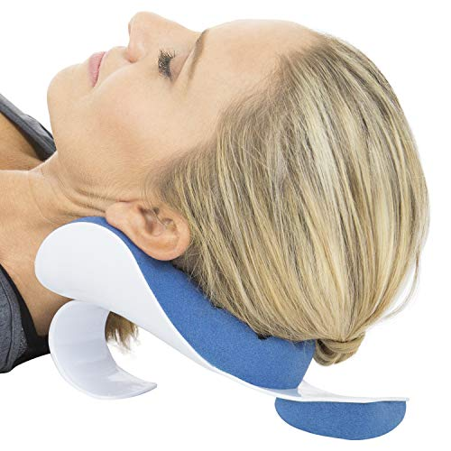 Vive Neck Support Relaxer - Shoulder Chiropractic Pillow - Cervical Spine Relieve, Neckbone Muscle Tension Reliever - Pressure Relief, Stiff Chronic Pain, Disc Alignment (Best Pillow For Bulging Disc In Neck)