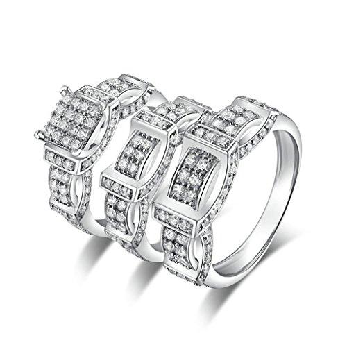 Epinki 925 Sterling Silver Men'S Ring Wedding Rings Engagement Rings Belt Cubic Zirconia Ring Set Size 11 by Epinki