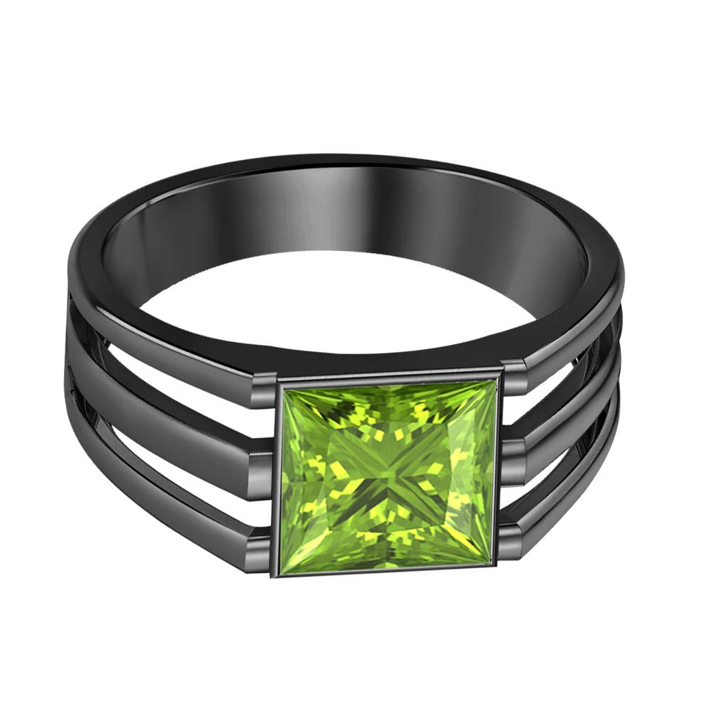 SVC-JEWELS 14K Black Gold Plated Solitaire Princess Cut Peridot Mens Wedding Band Engagement Ring