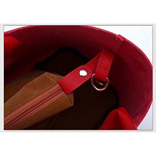 Bandolera Bolsos Logobeing de de Mujer mano Con Cuero Bolsas 2Pcs Totes de PU Bolsos Rojo Bolsa Shopper w14OSr1cXq