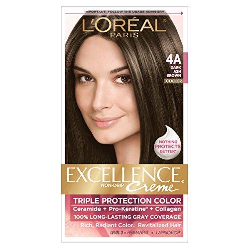 Ash Hair Dye Brown - L'Oreal Paris Excellence Creme Hair Color, 4A Dark Ash Brown