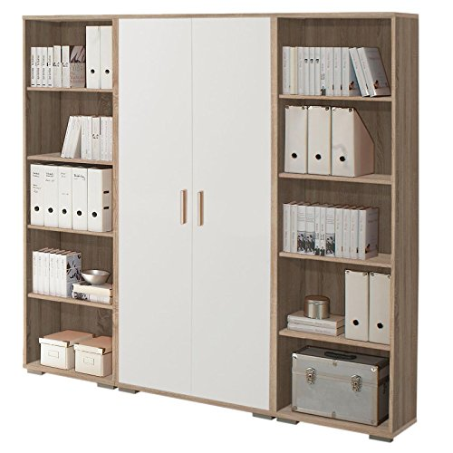 Büroschrank Regalwand Aktenschrank OLE in Eiche Sonoma / weiß 184x186x35 cm