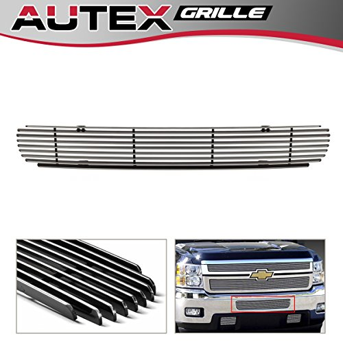 - AUTEX 1PC Chrome Aluminum Lower Bumper Billet Grille Insert Compatible With 2011 2012 2013 2014 Chevy Silverado 2500HD/3500HD Grill C66832A