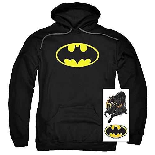 Batman Classic Logo Pull-Over Hoodie Sweatshirt & Exclusive Stickers (Large) (Hoodie Batman)