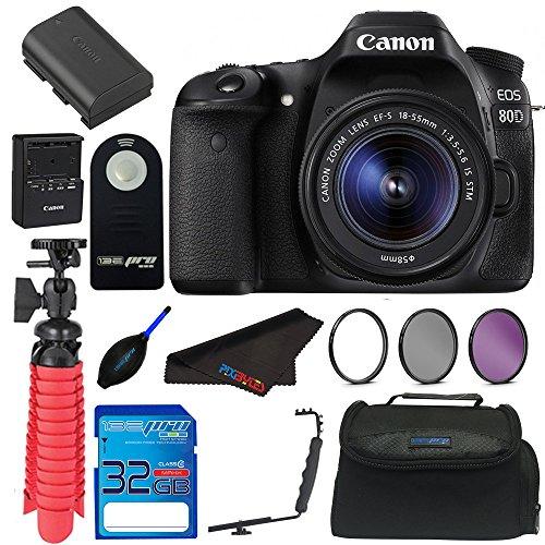 Cheap Canon EOS 80D Digital SLR Kit with EF-S 18-55mm Lens (Black) + Elements Accessory Bundle