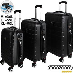 92b88c2b5 Juego de 3 maletas rígidas con cierre Q-Design color negro – Equipaje De  Viaje ...