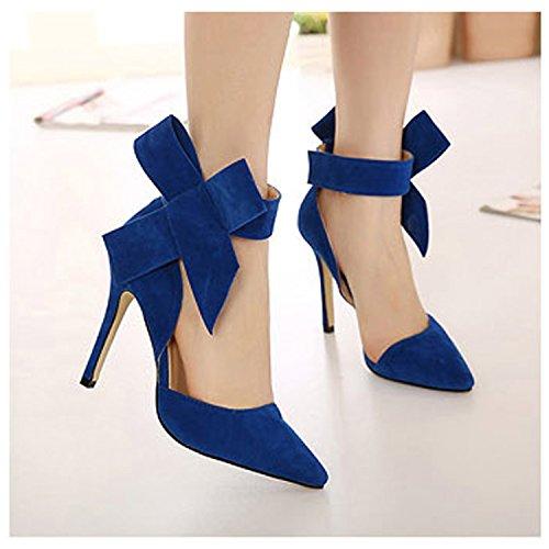 Sommer High Heels Schuhe Damen Geschlossene Toe Wildleder Riemchen Schleife Plateau Pumps mit Schnalle Bogen Stiletto Absatz Elegante Brautschuhe Blau