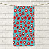 smallbeefly Kiss Sports Towel Retro Woman Mouth Red Lipstick Girl Expressing Different Emotions Female Vintage Absorbent Towel Teal Red White Size: W 35.5'' x L 25''