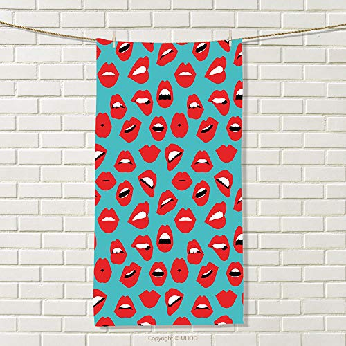 smallbeefly Kiss Sports Towel Retro Woman Mouth Red Lipstick Girl Expressing Different Emotions Female Vintage Absorbent Towel Teal Red White Size: W 35.5'' x L 25'' by smallbeefly
