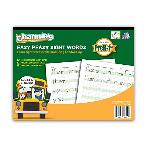 NEW!! 100 FIRST SIGHT WORDS CHANNIE'S EASY PEASY SIGHT WORDS. LOTS LOTS PRACTICE. 80 PAGES TRACING AND WRITING.