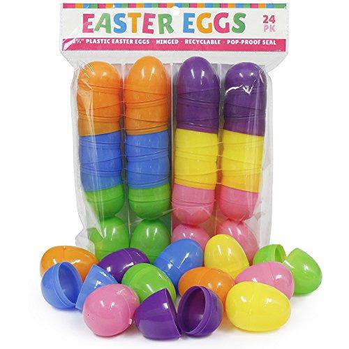 Plastic Easter Eggs (24 Pack) Hinged 6 Asst Colors