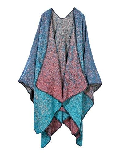 Invierno Reversible Manta Cardigan de Punto Capa Chal Bufanda para Mujer Punto Azul