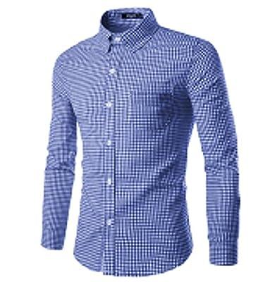NUTEXROL Men Plaid Cotton Casual Slim Fit Long Sleeve Button Down Dress Shirts Royal Blue XXX-Large