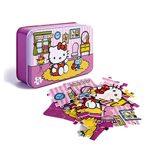 60 Piece Puzzles for Kids,Hello Kitty Jigsaw Puzzle in Storage Box,Beautiful Artwork Sturdy Cardboard Mini Puzzles for Children,Birthday Gift for Girls(Eatting Apple)