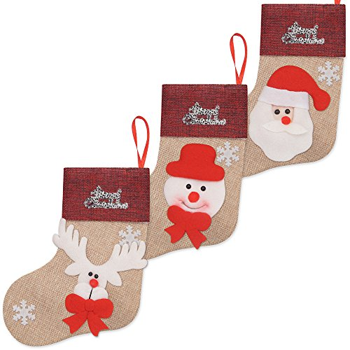 Ivenf 12 Pack 7'' 3D Burlap Mini Christmas Stockings, Santa Snowman Reindeer Gift Card Silverware Holders, Bulk Treats for Neighbors Coworkers Kids Cats Dogs, Small Rustic Red Xmas Tree Decorations Set by Ivenf (Image #1)