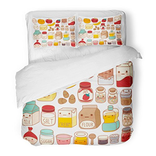 SanChic Duvet Cover Set Collection Lovely Cake Ingredient Cute Egg Adorable Milk Sweet Flour Kawaii Strawberry Girly Butter Decorative Bedding Set Pillow Sham Twin Size ()