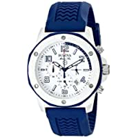 Bulova Men's 98B200 White Stainless Steel Watch with Blue Rubber Band