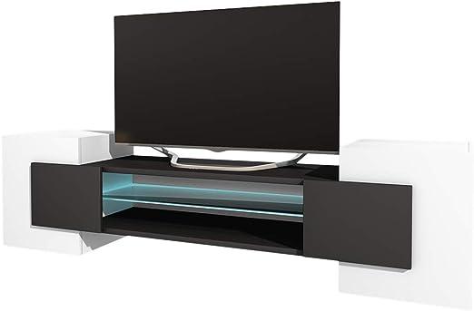 Selsey Mueble para televisor, Blanc Mat/Noir Mat, Avec LED: Amazon.es: Juguetes y juegos