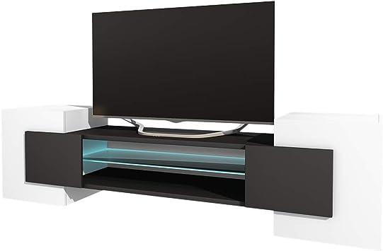 Selsey Mueble para televisor, Blanc Mat/Noir Mat, Avec LED ...